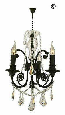French Provincial Iron Chandelier- 3 Arm - Wrought Iron Finish