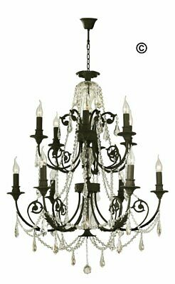 French Provincial Iron Chandelier- 12 Arm - Wrought Iron Finish