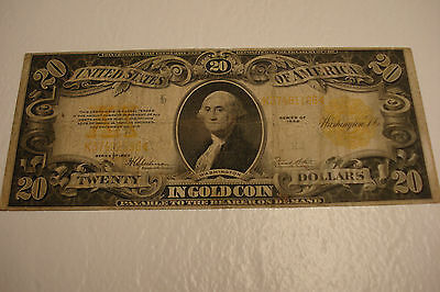 Nice   Authentic 1922 U.s.a. 20$ Gold Certificate Bill  #1-22