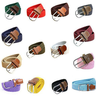 Casual Woven Canvas Elastic Knitted Stretch Buckle Belt for Men & Women