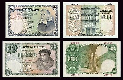 Facsimil Billetes 500-1000 pesetas 1946 - Reproductions