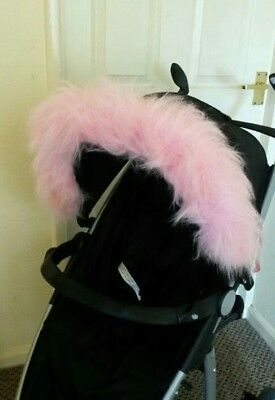 Dog stroller pushchair faux fur hood trim,  fits any dog pram hood. More colours