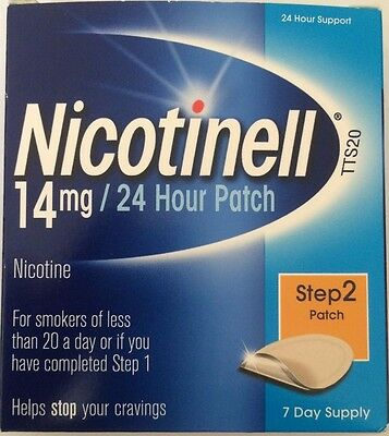 NICOTINELL 14mg  Patch - 24 Hour  Step 2 - 7 Patches BEST BEFORE DATE 11/2018
