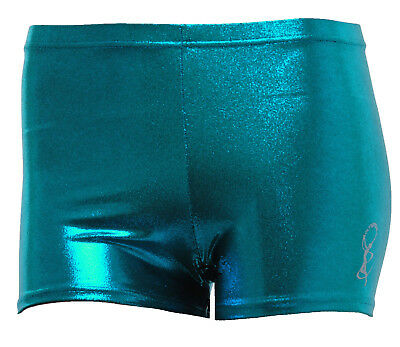 Gymnastic Leotard Shorts Girls Gym Dance metallic sheen petrol FAST DELIVERY UK