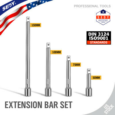 "4pc 1/4"" LONG Socket Extension Bar Set Shaft 2"" 3"" 4"" 6"" Socket Ratchet Improved"