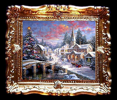 DOLLS HOUSE MINIATURE PICTURE CHRISTMAS SNOW SCENE LIVING DINING ROOM. No160