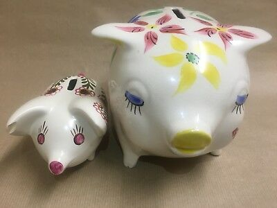 2 Arthur Wood Piggy Bank Pigs with Floral Design 1 Large & 1 Small Money Box