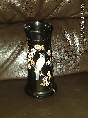 Vintage Antique ? Bretby Pottery Vase Black With Bird And Floral Decoration