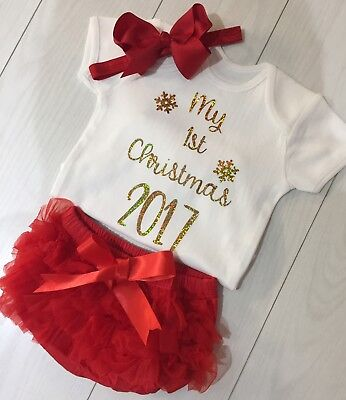 Girls My 1st First Christmas 2017 Outfit Tutu Knickers & Bow Photo Shoot Prop