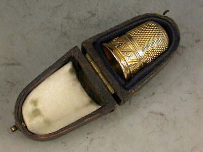 19th Century Cased Gold Thimble Chevrons, Unmarked c1860