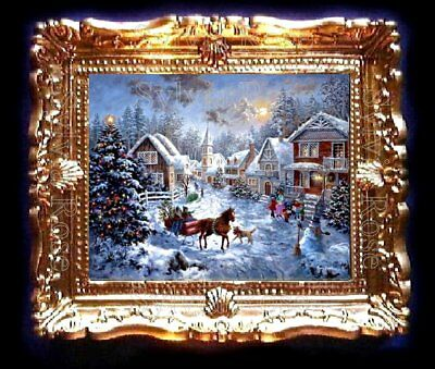 DOLLS HOUSE MINIATURE PICTURE CHRISTMAS SNOW SCENE LIVING DINING ROOM. No162