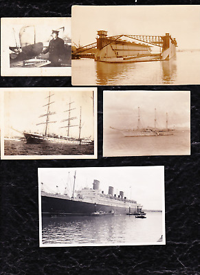 9 Vintage Shipping Related Postcards/photographs - 1 Posted 1905 -