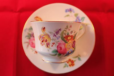 George Jones Crescent China Cup & Saucer Floral Very Pretty Art Deco Espresso