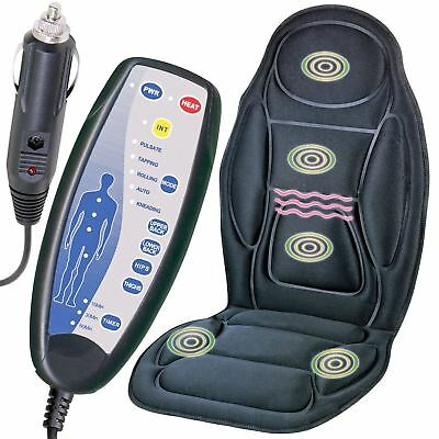 Heated Massage Chair Back Seat Remote Control Cushion Massager Car Van Relaxing