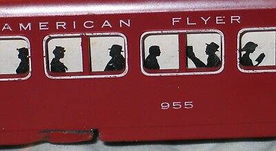 american flyer lines maroon 955 passenger car white window trim some issues card