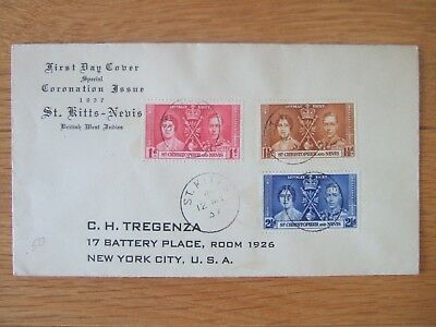 ST CHRISTOPHER NEVIS 1937 CORONATION 3v FIRST DAY COVER