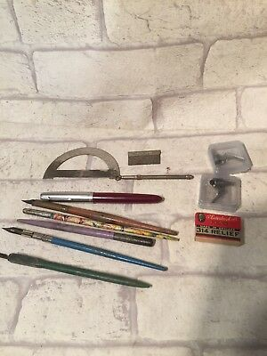 Job Lot Early Old Ink Pens Pencils & Nibs Unopened in Box Vintage Antique