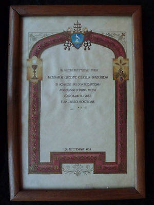 Pope Pius XII 1953 signed benediction - papal blessing - vatican relic