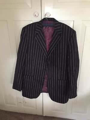 Men's Black And White Pinstripe suit / Gangster / Gatsby style Jacket 42 regular