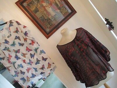 Bundle Of 2 Ladies Tops, Size 22/24, Marks And Spencer/evans, Butterfly/abstract