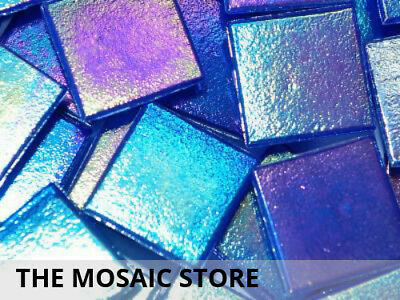 Electric Blue Iridised Mosaic Glass Tiles 2cm - Mosaic Art Craft Supplies