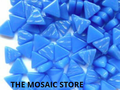 True Blue Glass Triangles - Mosaic Art Craft Tiles Supplies