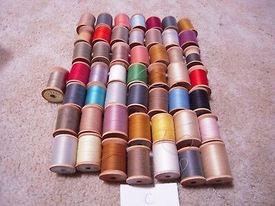 Wooden Spool thread lot of 50 sewing crafts C