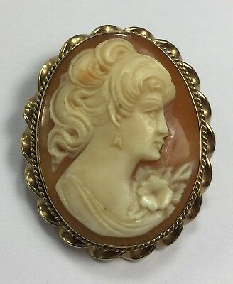 Beautiful Antique 10K Gold Cameo – Carved Shell – Pin Brooch or Pendant