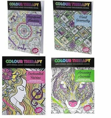 Colour Therapy Anti Stress Adult Colouring Books Animals Mandala Fairies (PMS)