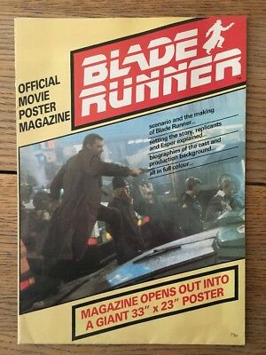 Blade Runner Official Movie Poster Magazine 1982 Harrison Ford *Original & Rare
