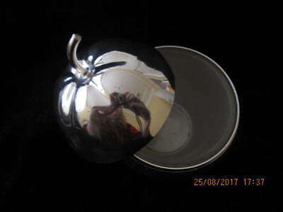 Large Silver Apple & Spoon Opaque Glass Apple Shaped Liner Gleaming Silverplate