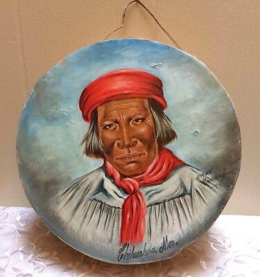 Native American Painting Rawhide Tarahumara  Drum Chihuahua Mexico Copper Canyon