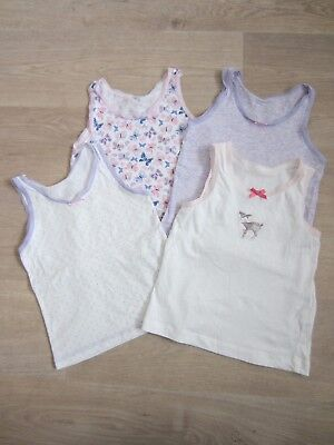 Girls George/TU Cream/Lilac Vests x 4 – Age 3-4 Years