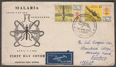 Pakistan 1962 Lahore Malaya Eradication Programme Airmail Message Cover To India