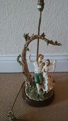 Large Vintage Capodimonte Figural Lamp Base Lovers on Swing