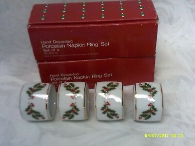 Vintage Christmas Porcelain  Holly Napkin Rings Set of 8 (2 boxes) EUC