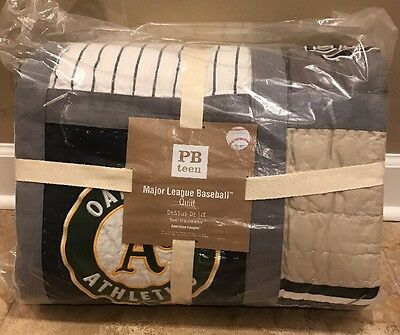NEW Pottery Barn Teen MLB Patchwork TWIN Quilt AMERICAN LEAGUE