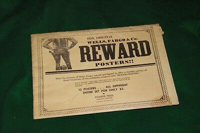 old WELLS FARGO REWARD Posters