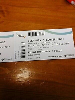 2x EUKANUBA DISCOVER DOGS TICKETS.  Sat or Sun. 21st or 22 nd.