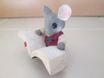 Miniature Mouse Ornament Reading a Book Resin Figure Hand Painted Fig
