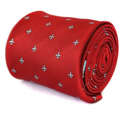 Frederick Thomas Men's red tie with fleur de lis (lys) design FT2073