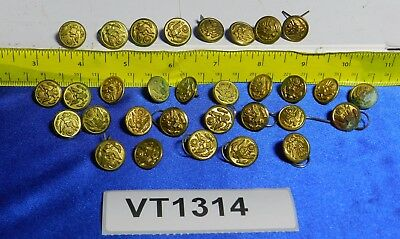 "LOT of 31 Original WWII US Army Brass 1/2"" Buttons Waterbury Scovill VT1314"