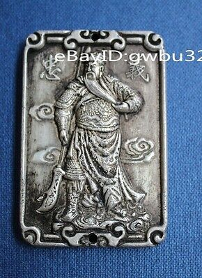 Chinese Miao silver Hand carved  statue Pendant - Guan Yu