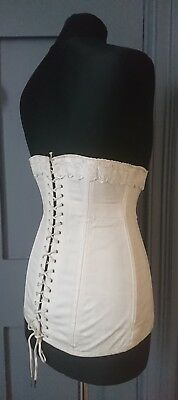 Antique 1910s / Edwardian Spirella White Cotton Corset With Broderie Anglaise