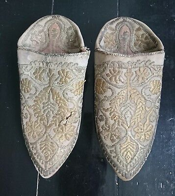 19th Century Antique Embroidered Ottoman / Turkish Slippers / Shoes