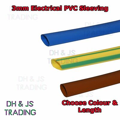 Electrical PVC Sleeving 3mm Earth, Brown, Blue Tubing Wire Cable Tidy Socket
