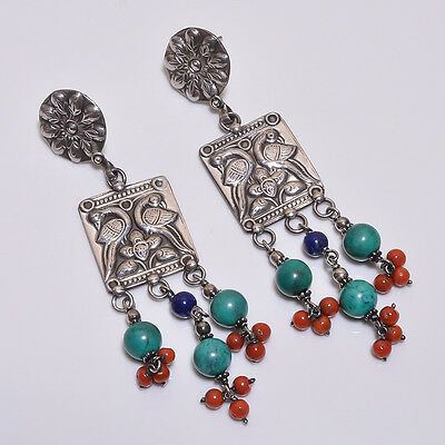925 Sterling Solid Silver Dangling Earrings Coral,Turquoise (BAGE)