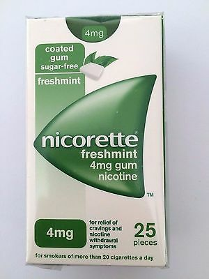 NICORETTE GUM 4mg 25 PIECES FRESHMINT - VARIOUS QUANTITIES USE DROP DOWN MENU