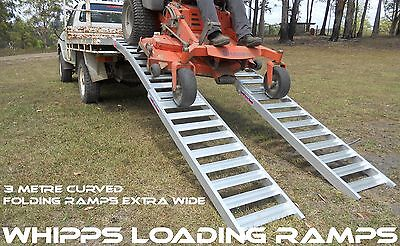 Curved Folding Zero Turn Mower Ramps 3 Metres - Extra Wide Structural Aluminium