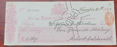 Scotland, Bank of Scotland, Saltcoats branch used Cheque dated 1897, revenue 96